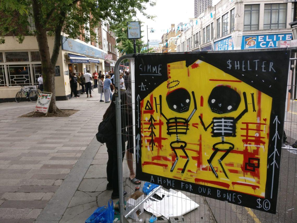 whitecross street party skeleton cardboard