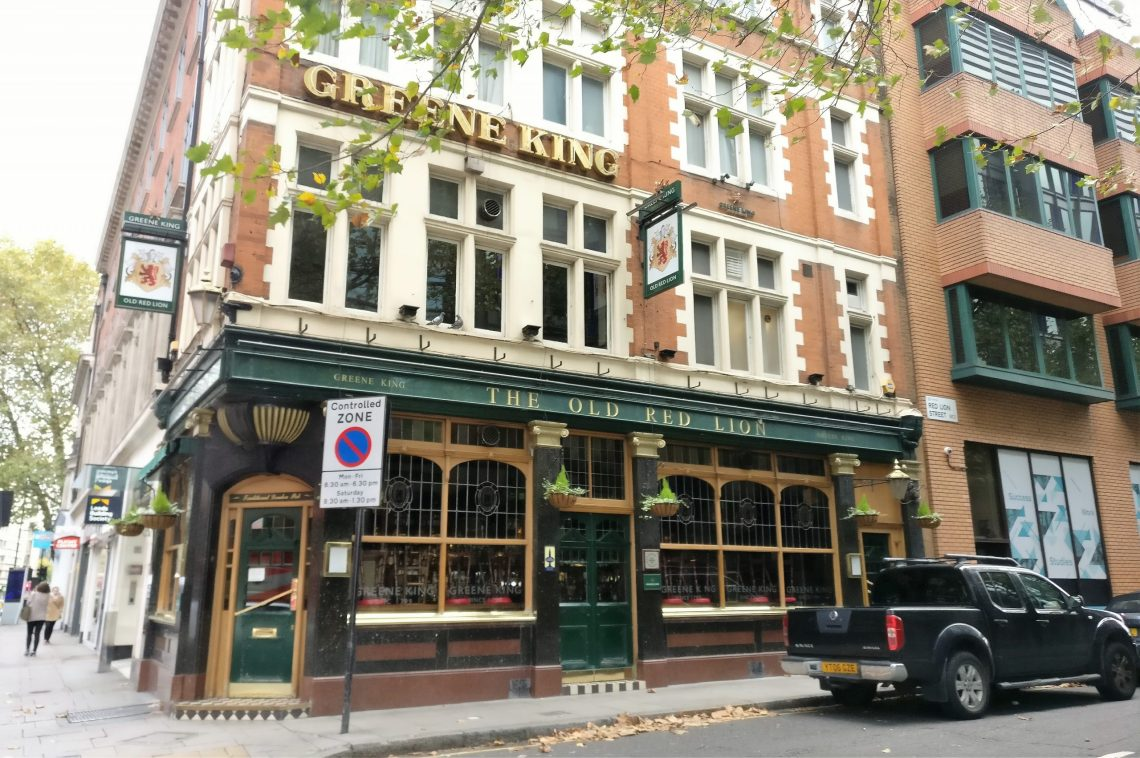The Old Red Lion pub where Oliver Cromwells body was kept. This is part of our walking tour of Holborn and Bloomsbury