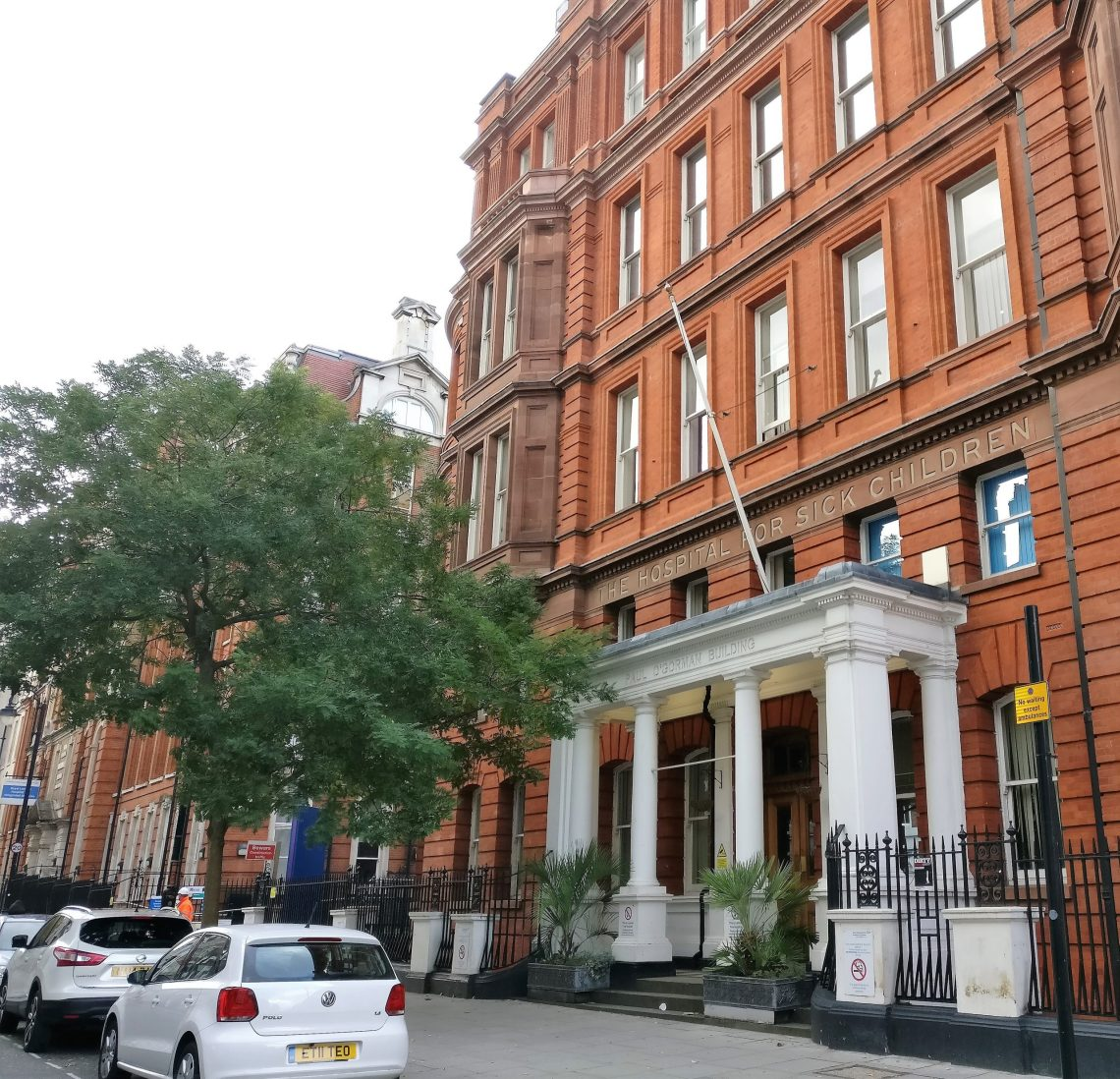 The Hospital for Sick Children on Great Ormond Street. This is part of our walking tour of Holborn and Bloomsbury