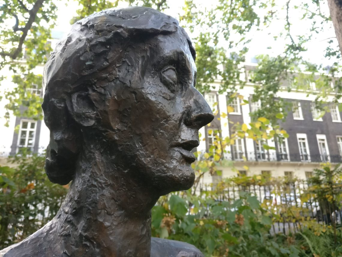 Statue of Virginia Woolf inside Tavistock Square. This is part of our walking tour of Holborn and Bloomsbury