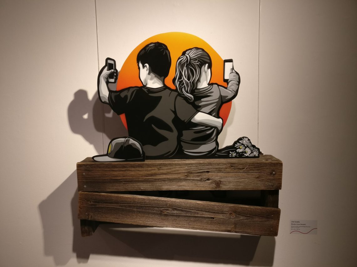 Artwork by Joe Lurato at the Social Paradox exhibition in the Stolen Space gallery