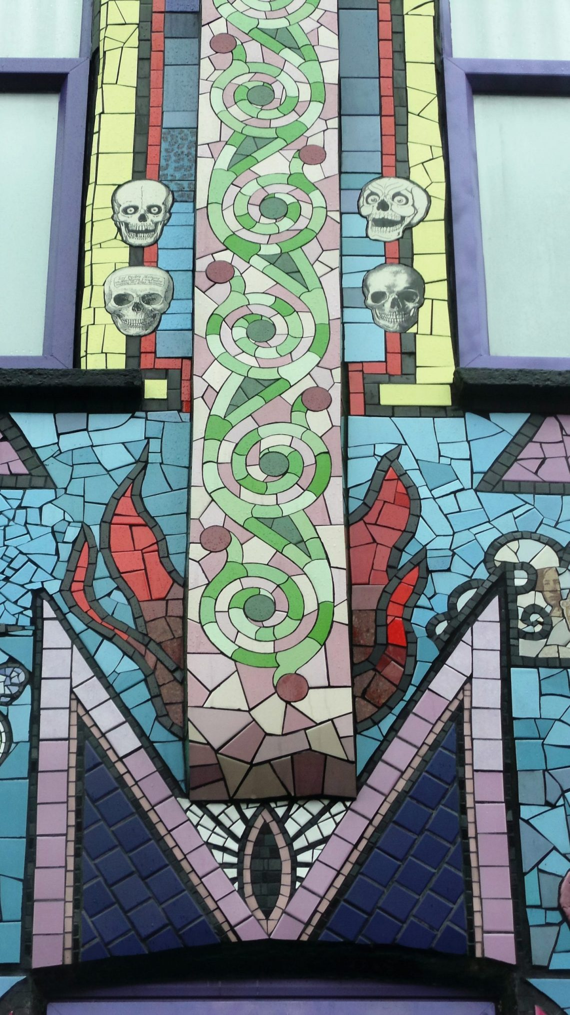 A mosaic DMT drug molecule on the front of the house by Eoghan Ebrill