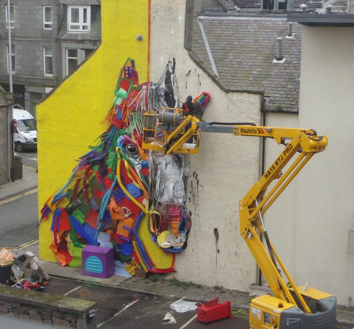 Unicorn Street Art in Aberdeen by the Portuguese artist Bordalo