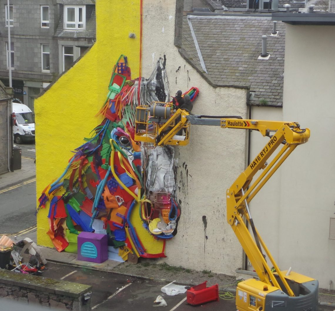 Unicorn Street Art in Aberdeen by the Portuguese artist Bordalo