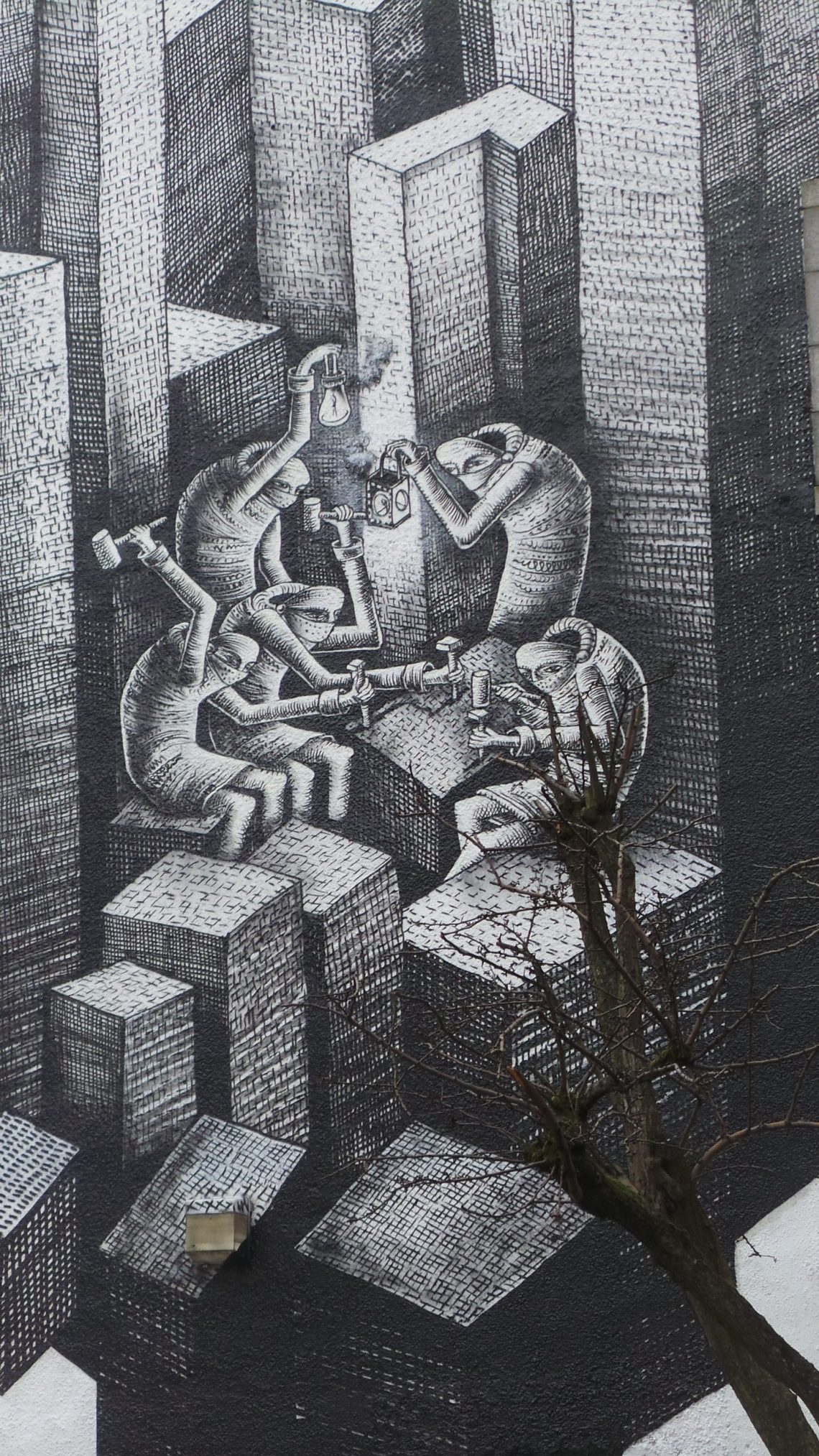 Phlegm street art in Aberdeen