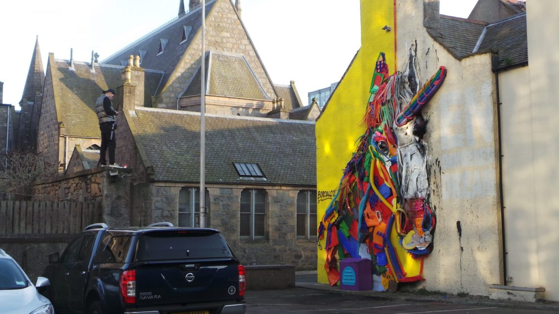 Trash unicorn by Bordalo II for Nuart Aberdeen in 2018