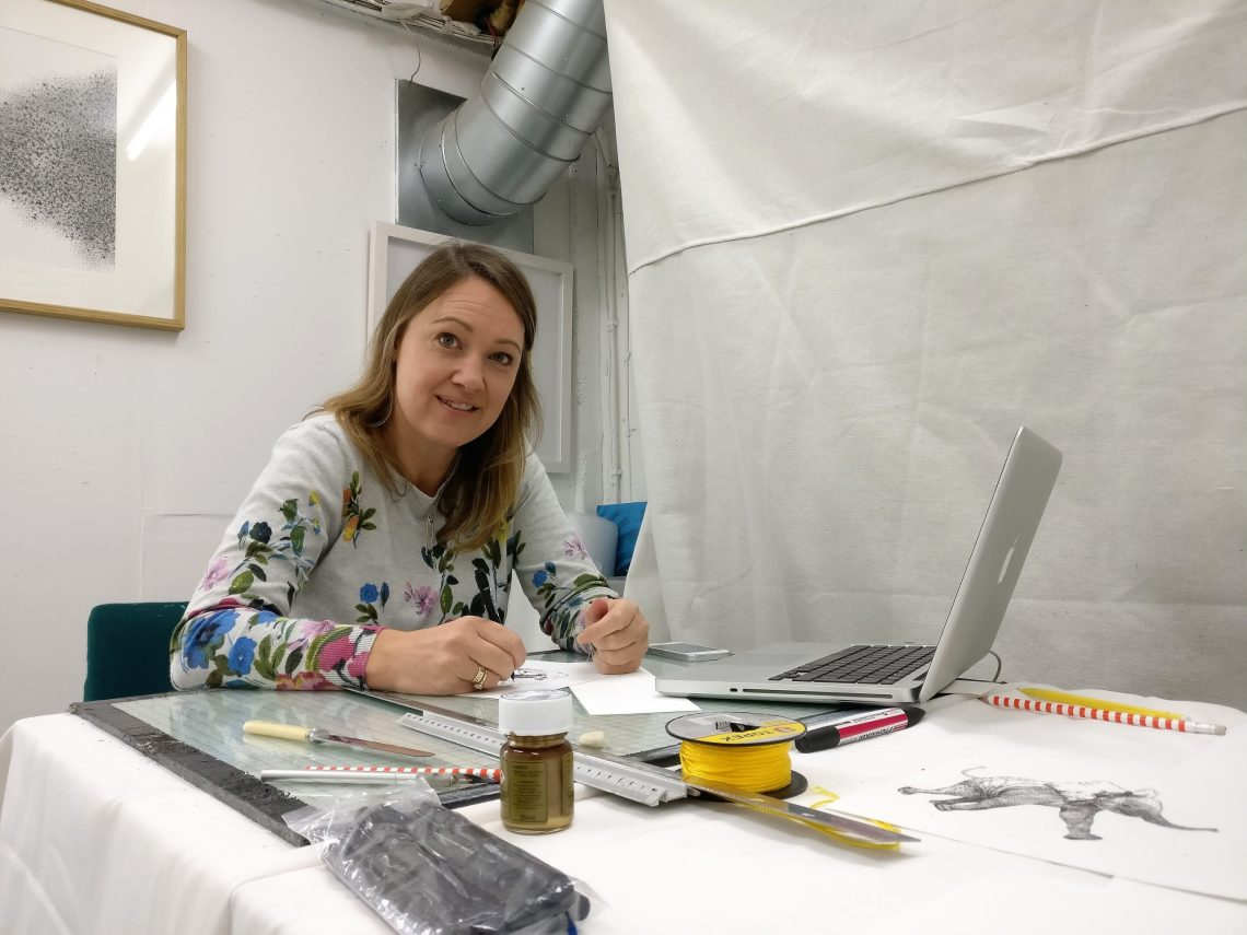 Fiona Brown in the Wimbledon Art Studios