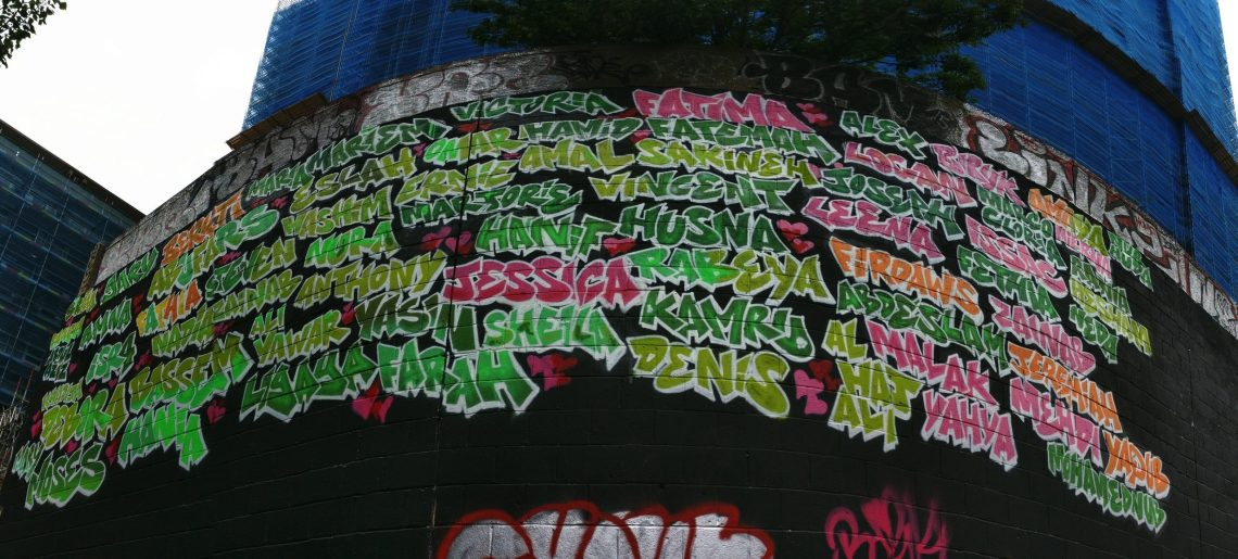 The names of all who died in the Grenfell Fire commemorated in graffti