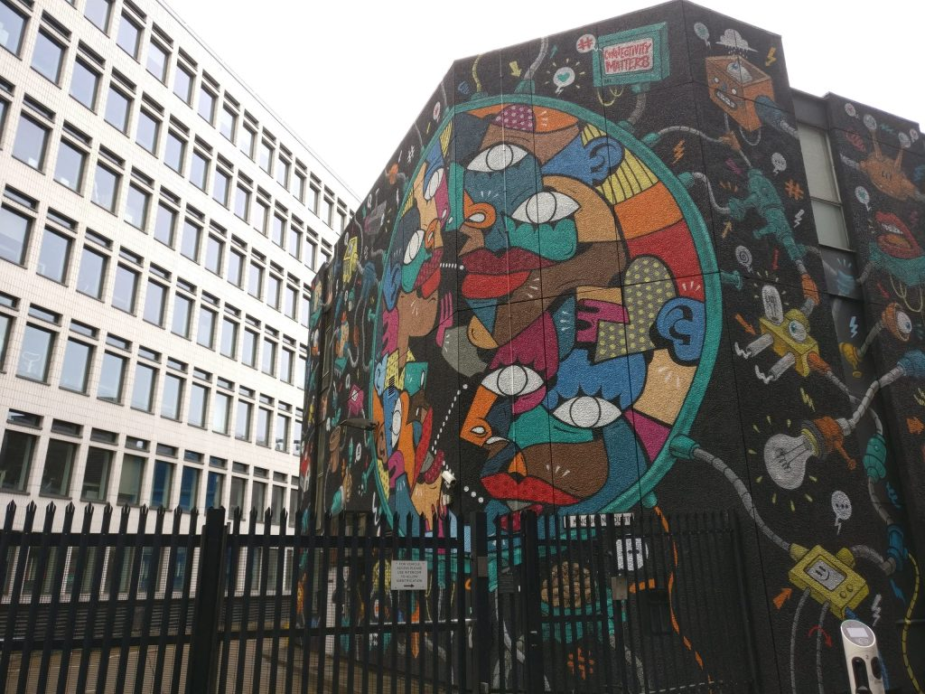 The connectivity matters mural in Shoreditch. This is one of the best places in London to see street art