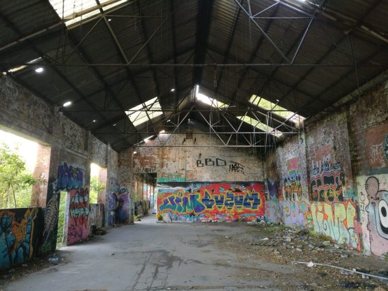 The inside of one of the old tramsheds on Ripon Street