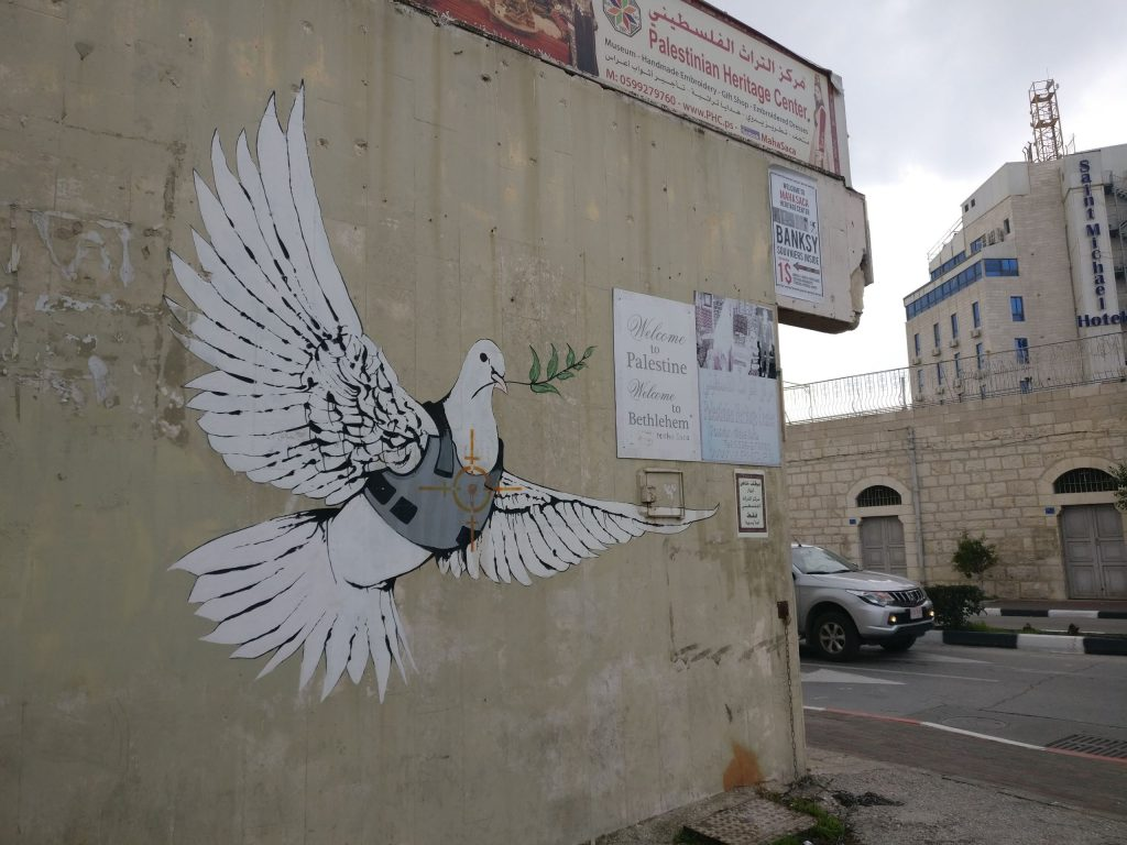 Banksy's Dove of Peace on the West Bank Separation Barrier in Bethlehem