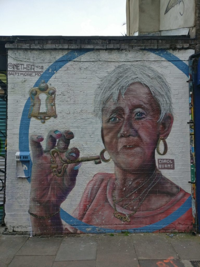 Carol Burns mural painted by Nether 410 by Nether 410 in Shoreditch