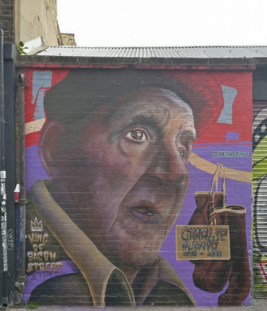 Charlie Burns mural painted by Nether 410 on Bacon Street in Shoreditch