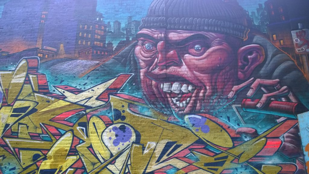 Street art by Gent in the Custard Factory in Digbeth