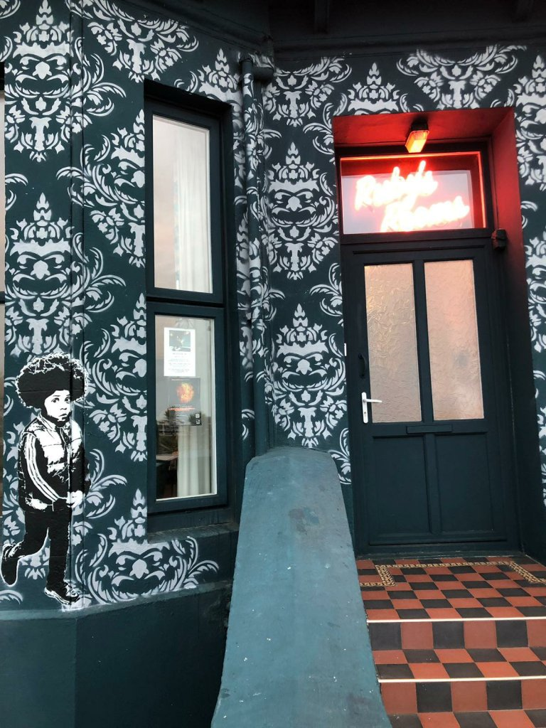 One of Dotmasters rude kids on the Rubys Rooms in St Leonards