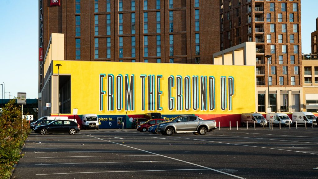 Gary Stranger mural 'From the Ground Up' in Canning Town