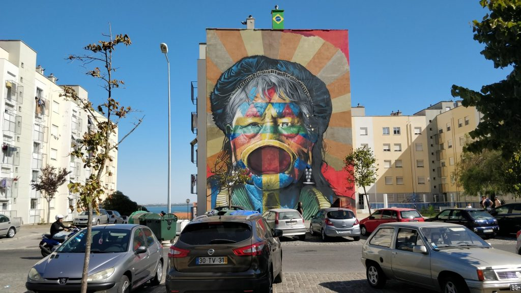 Street art in the Marvila district of Lisbon from Kobra