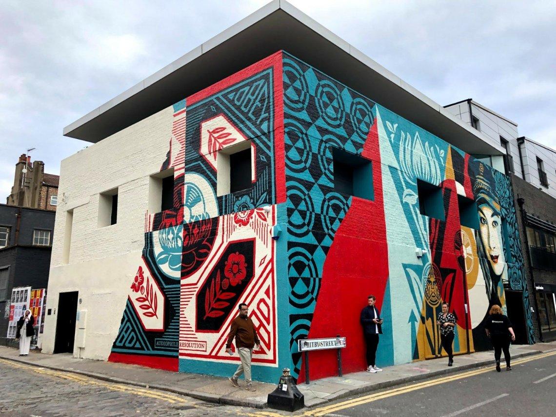 street art by shepard fairey in London on Whitby street