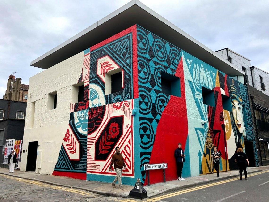 street art by shepard fairey in London on Whitby street