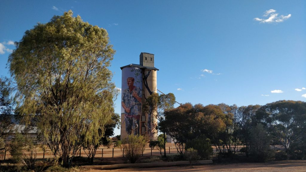 Grain Silo Mural in Patchewollock on the Silo Art Trail by street artist Fintan Magee