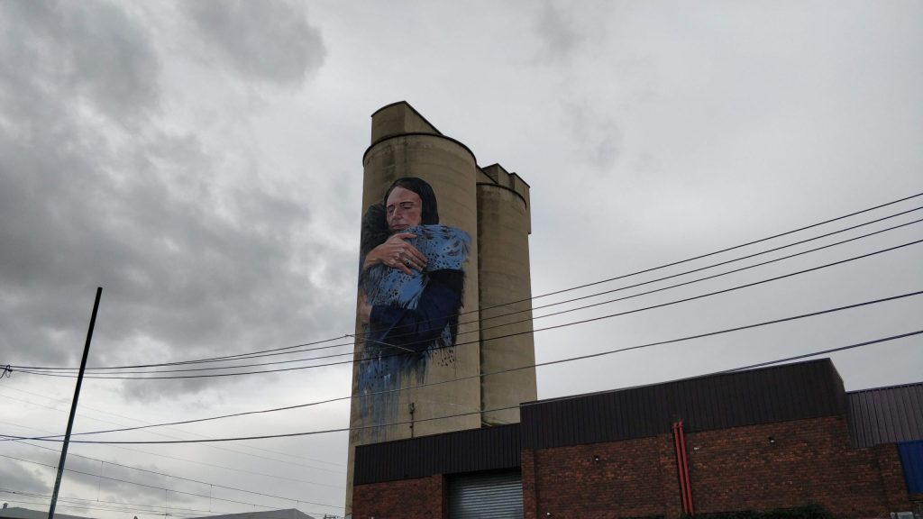 Mural of Jacinda Ardern on a silo in Brunswick, Melbourne by Loretta Lizzio
