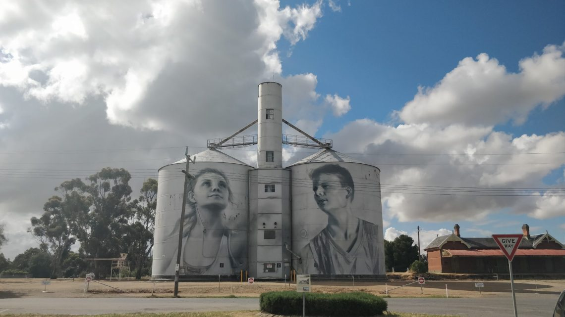Grain Silo Mural in Rupanyup on the Silo Mural Trail by street artist Julia Volchkova
