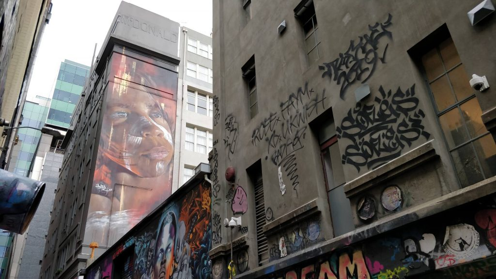 The mural by Adnate on Hosier Lane