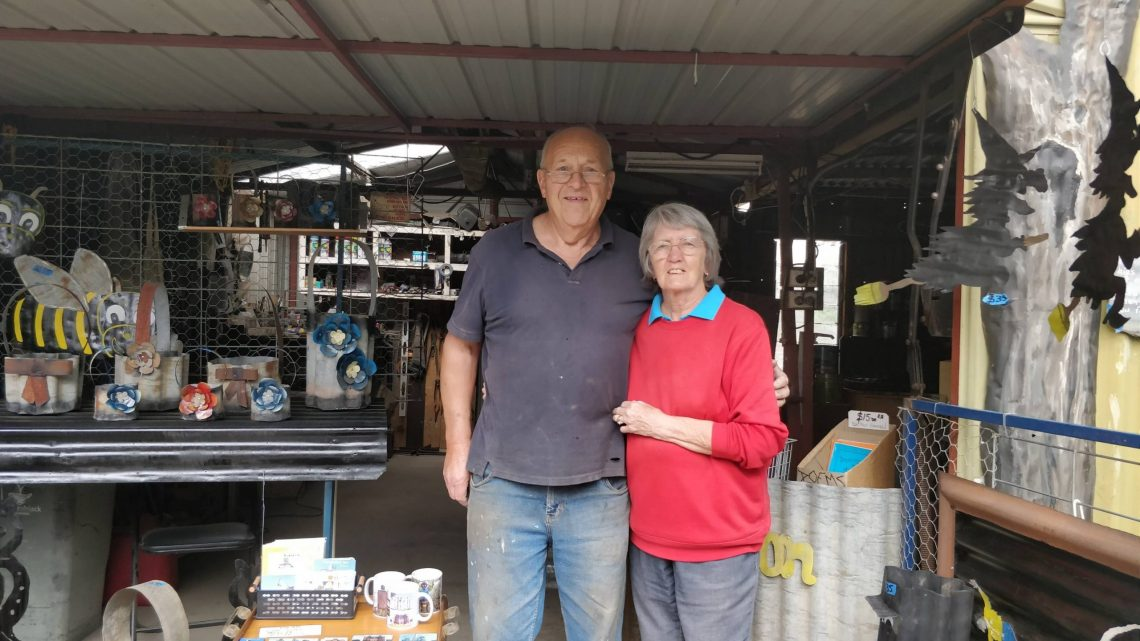Phil and Marlene Rigg at their corrugated iron workshop in Lascelles