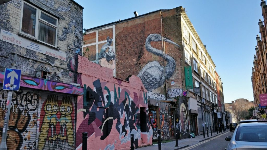 Crane by ROA on Hanbury Street can be found on the Shoreditch Street Art Map