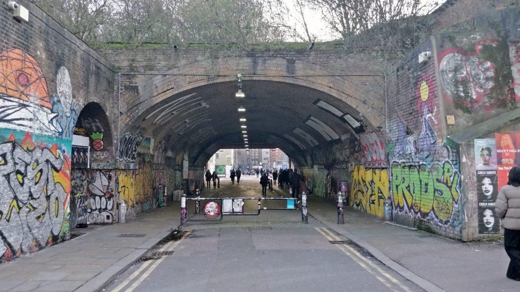A graffiti covered bridge in Shoreditch