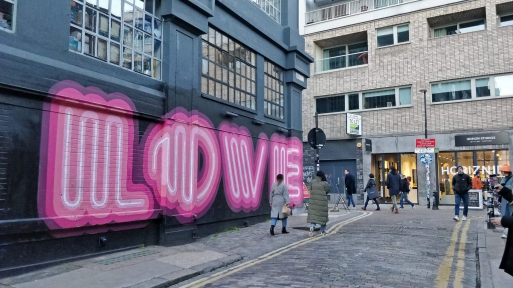 Love mural by Ben Eine on Ebor Street in Shoreditch