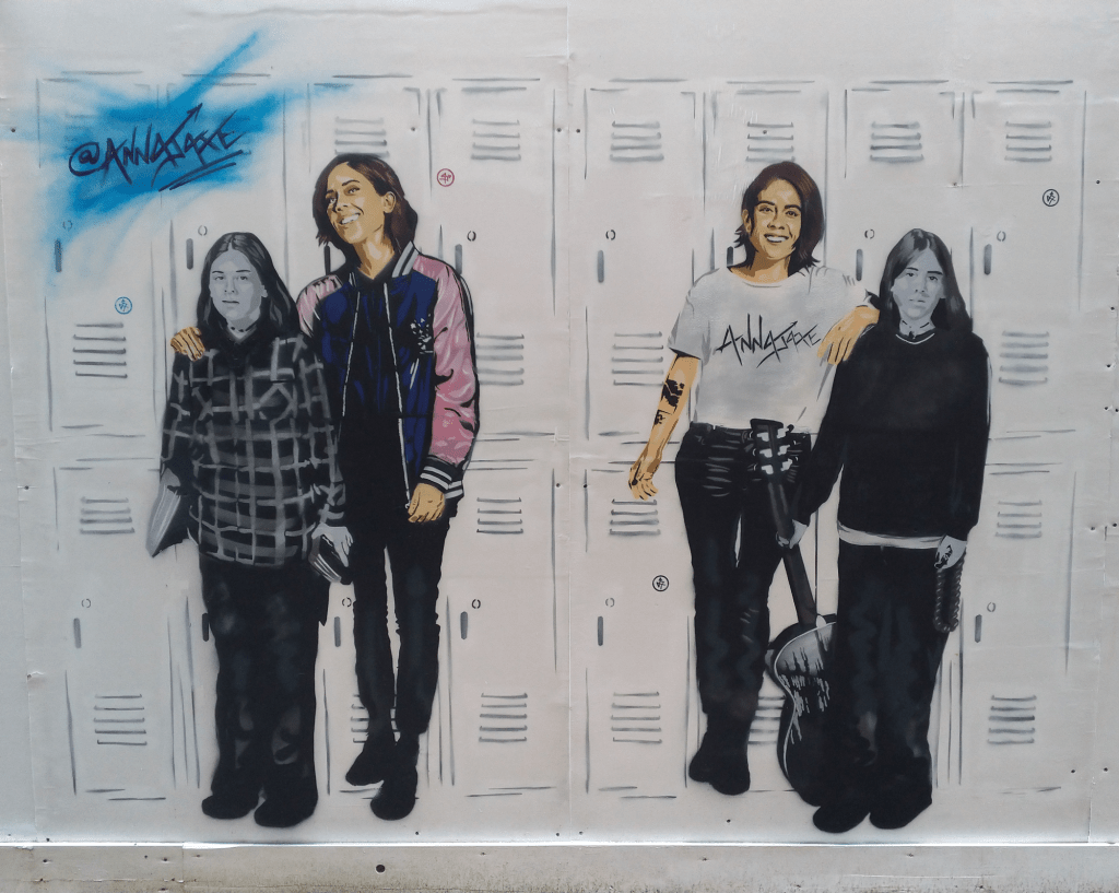 Mural of Tegan & Sara by Anna Jaxe part of her celebrating diversity street art series