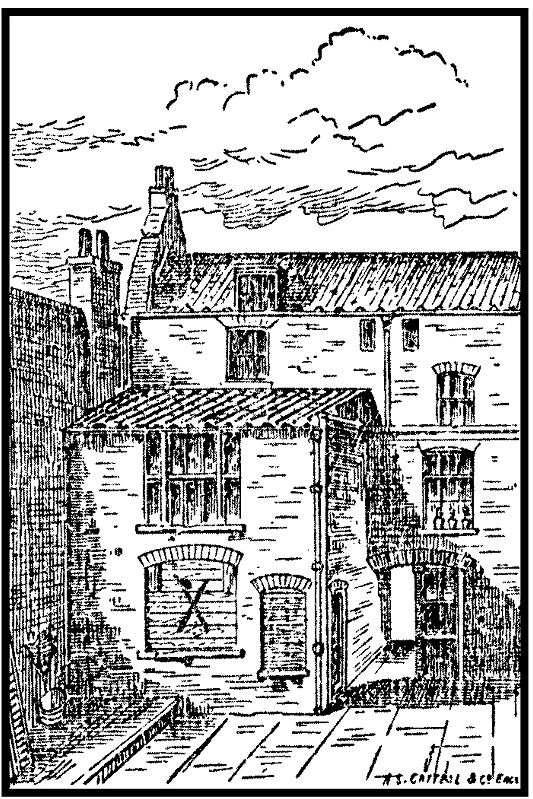A contemporary sketch of 13 Millers Court and the back of 26 Dorset Street