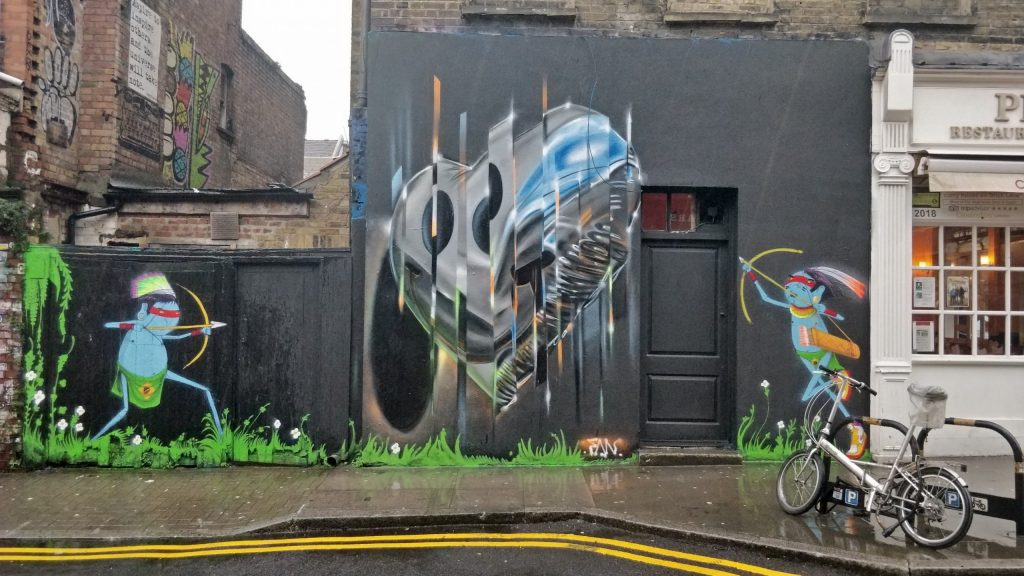 Street art by Fanakapan and Cranio on Hanbury Street