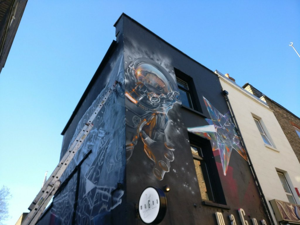 Mural of an Astronaut by Fanakapan on Brick Lane