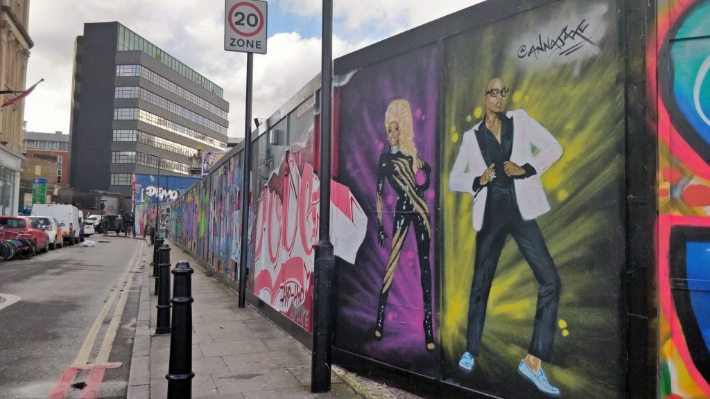 Mural of RuPaul in Shoreditch by Anna Jaxe. Part of her her celebrating diversity street art series