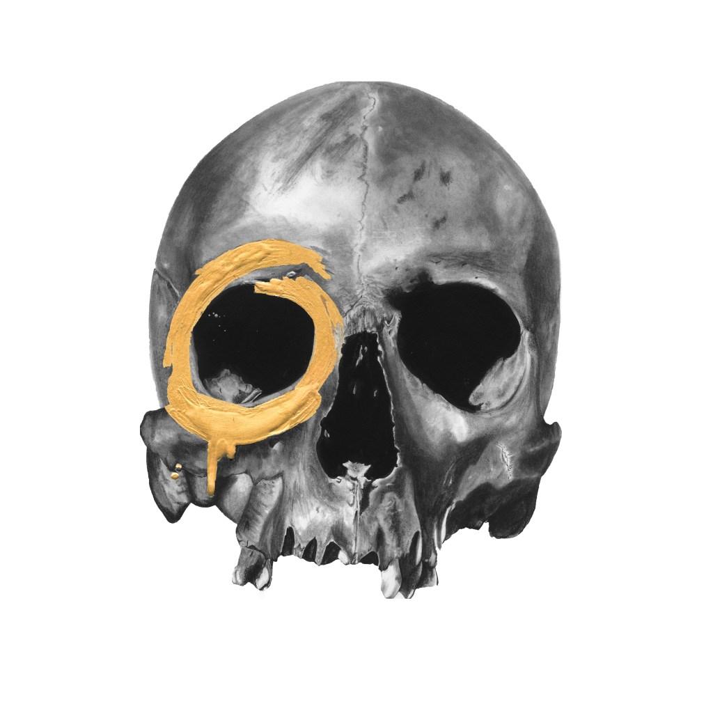 Skull with gold leaf by artist Elizabeth Waggett