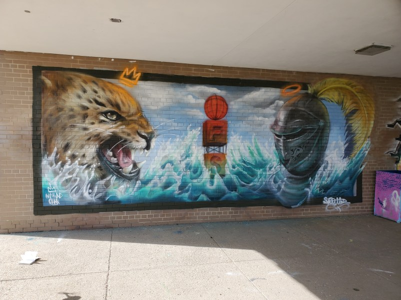 The Mural painted by the Nomad Clan and students from the Southwestern Academy in Flint