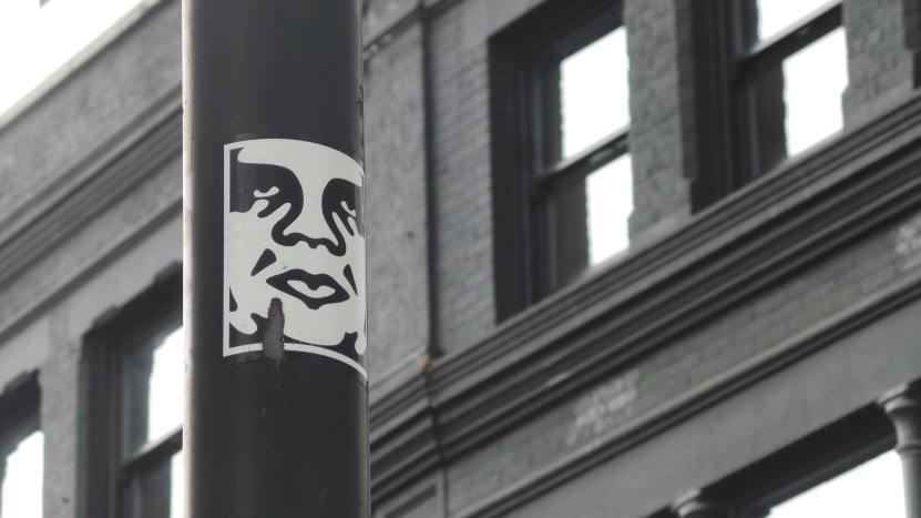 Obey sticker by Shepard Fairey on the corner of Rivington Street