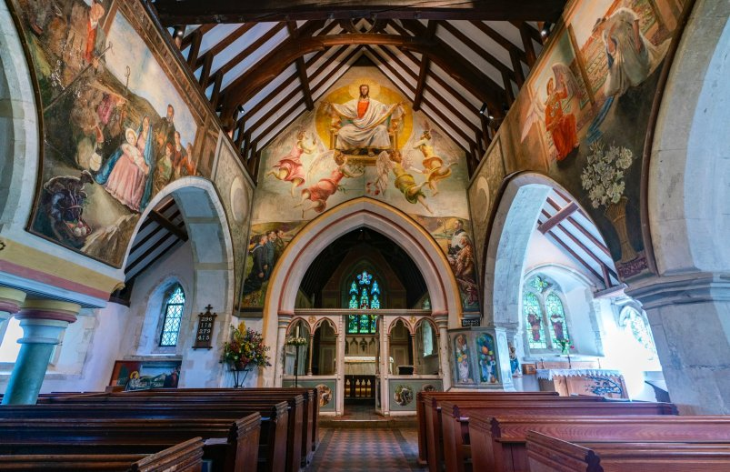 Berwick Church interior in Sussex with paintings by the Bloomsbury Group