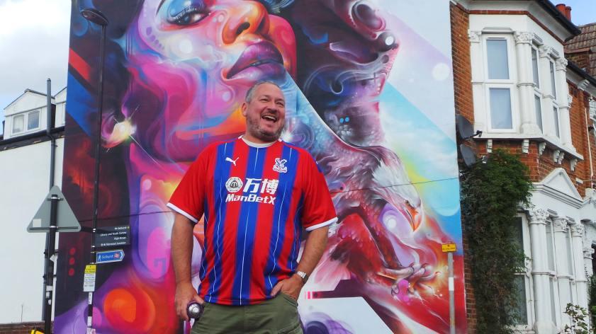 Artist Mr Cenz at the London Mural Festival