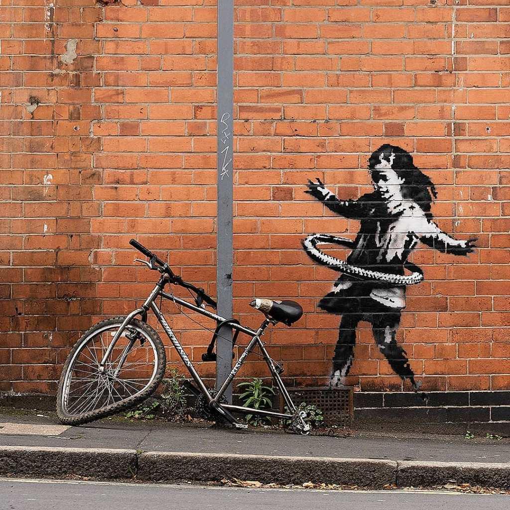 Hula Hooping Girl by Banksy in Nottingham