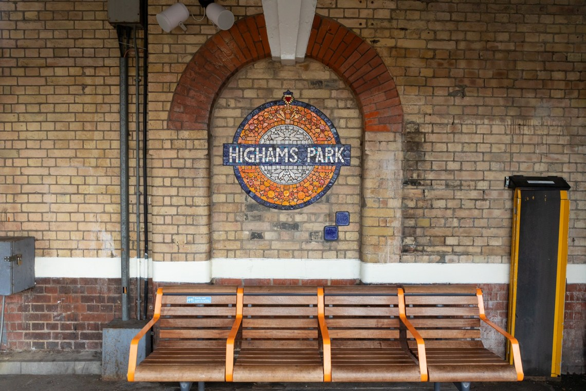 Mosaic roundel at Highams Park
