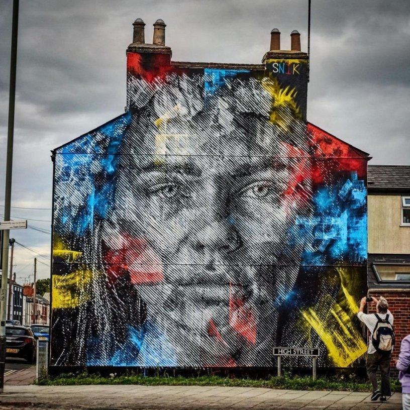 Snik mural for Cheltenham Paint Festival 2020