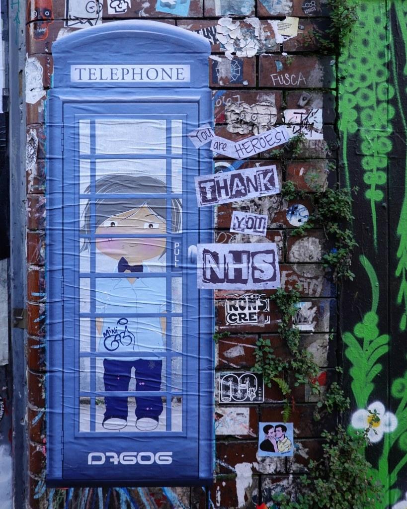 Mini Gabi collaboration with D7606 Mini Nurse in a blue telephone box