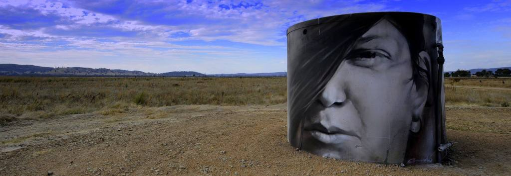 Face on a water tank in the winton wetlands