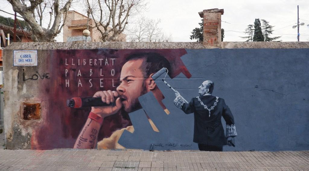 Cinta Vidal mural of Pablo Hasel