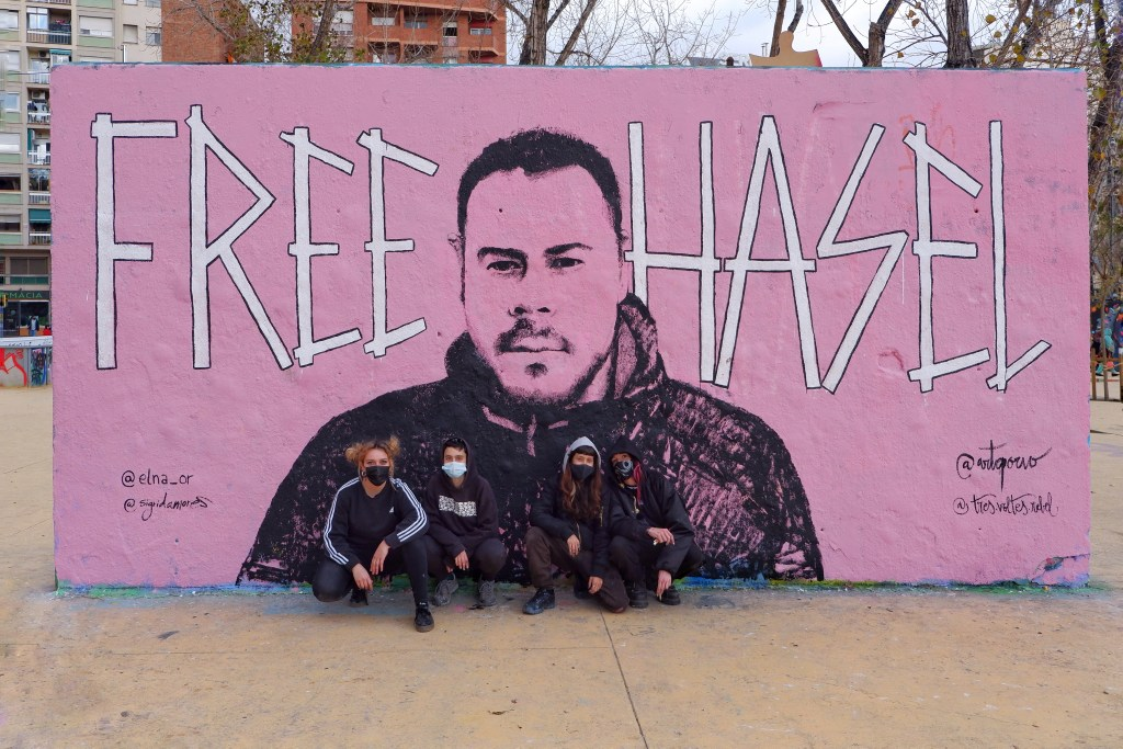 Free Pablo Hasel mural in Barcelona