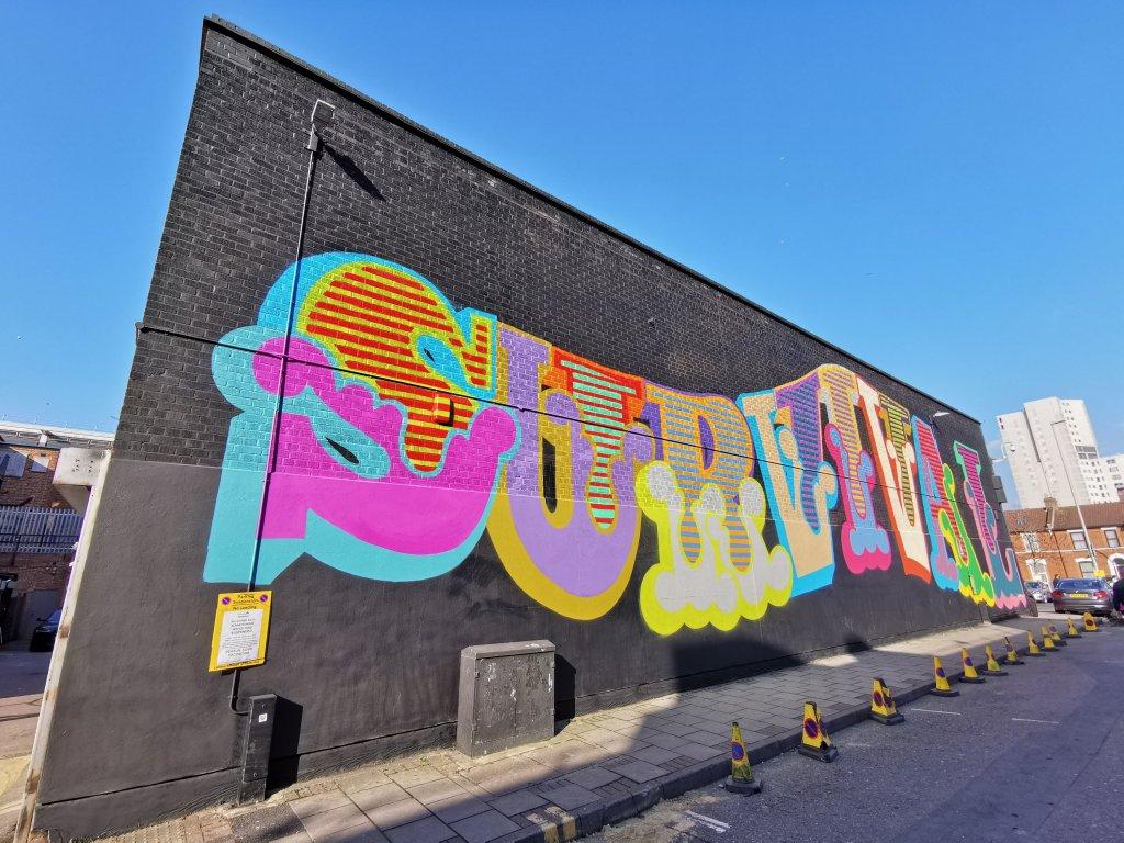 Survival mural by Ben Eine in Ilford