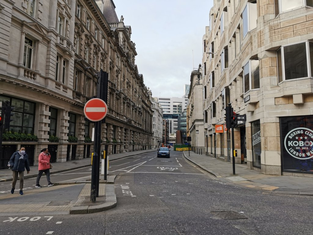 The Walbrook River followed the line of modern day Blomfield Street and entered the City of London through the wall here